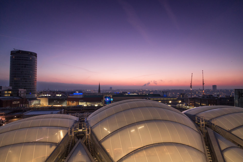 Sunrise above Birmingham New Street Station from Grand Central