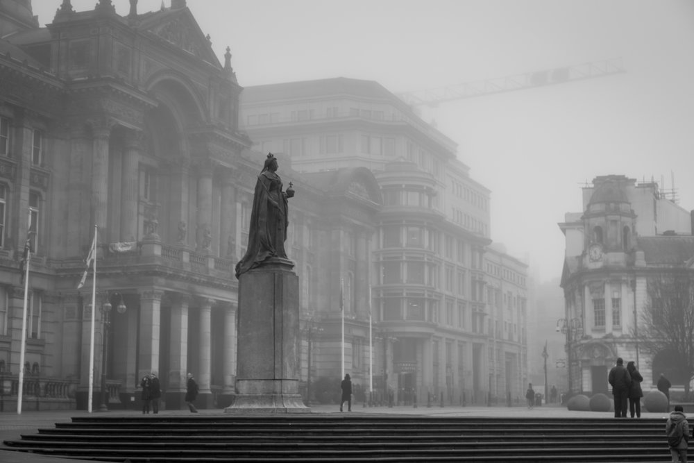 Victoria emerging from the fog in Victoria Square, Birmingham