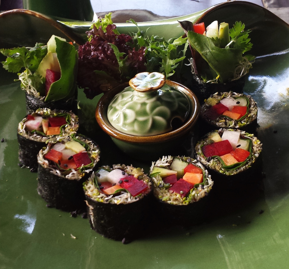 Vegan Sushi - Avocado, Jicama, Beet, Avocado, Sprouts, Cilantro and Basil
