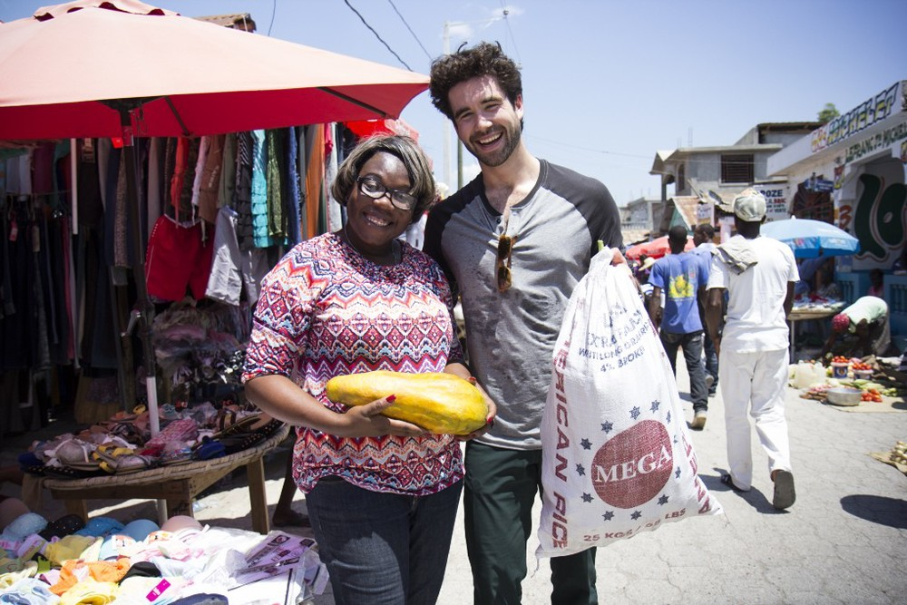Suzemanie and I purchase food at the local market; Photo by Crystal Wells