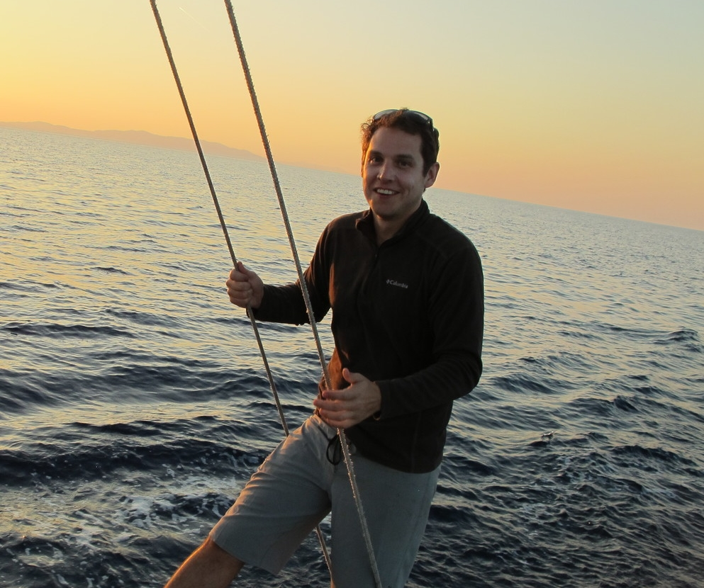 Standing on gangplank on a Jeanneau 43 in the Mediterranean
