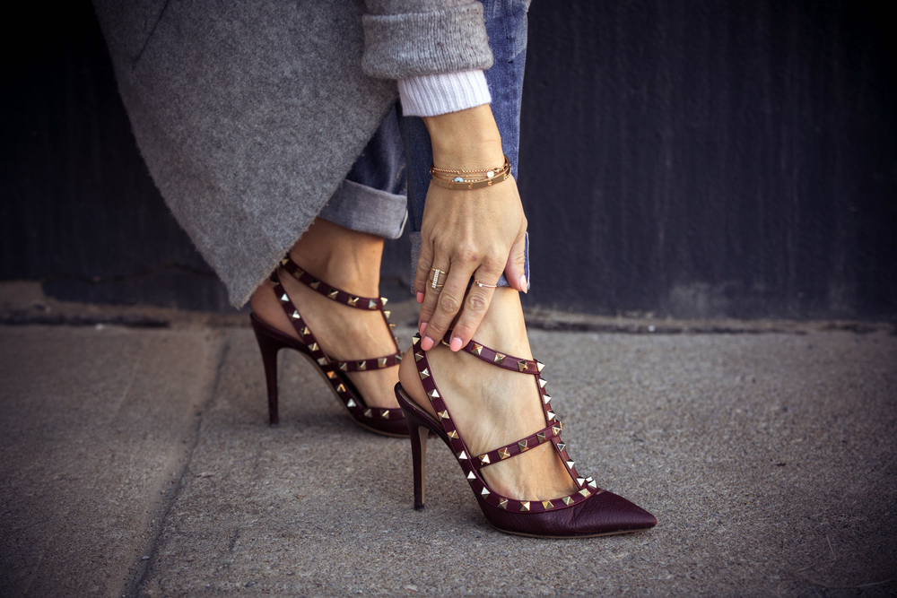 rockstuds valentino shoes on mademoiselle jules fashion blog montreal cananda