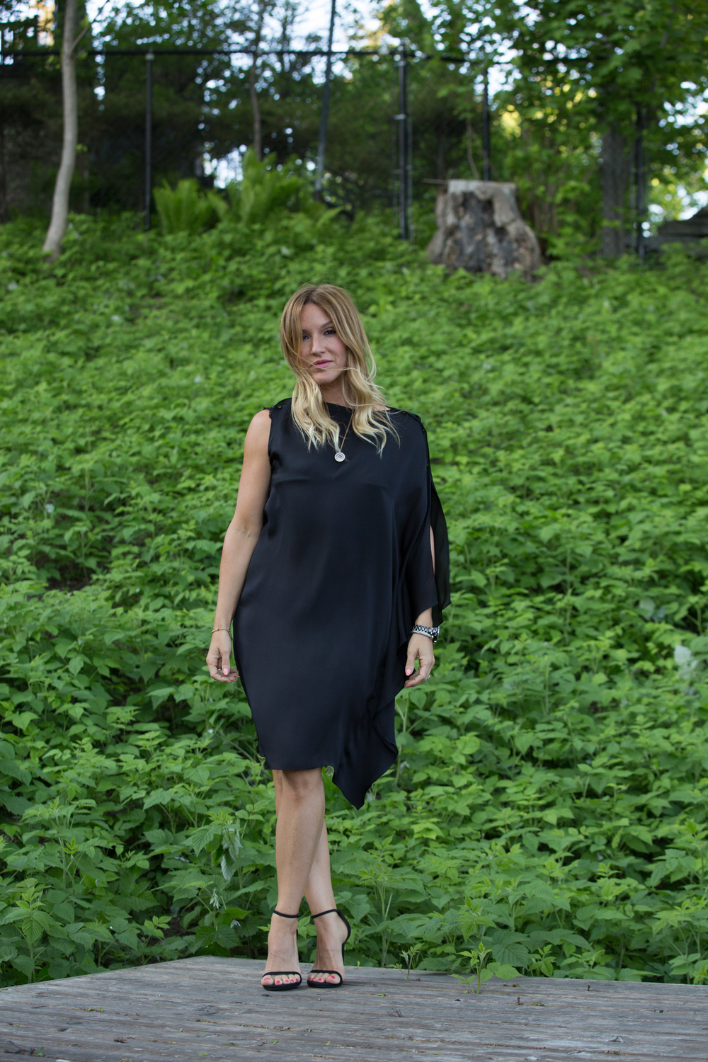 canadian fashion blogger mademoiselle jules wearing Lanving black dress LBD and nudist sandals from Stuart Weitzman