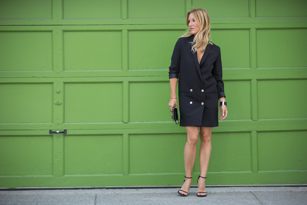 tuxedo dress Canadian fashion blogger on Mademoiselle Jules mlle