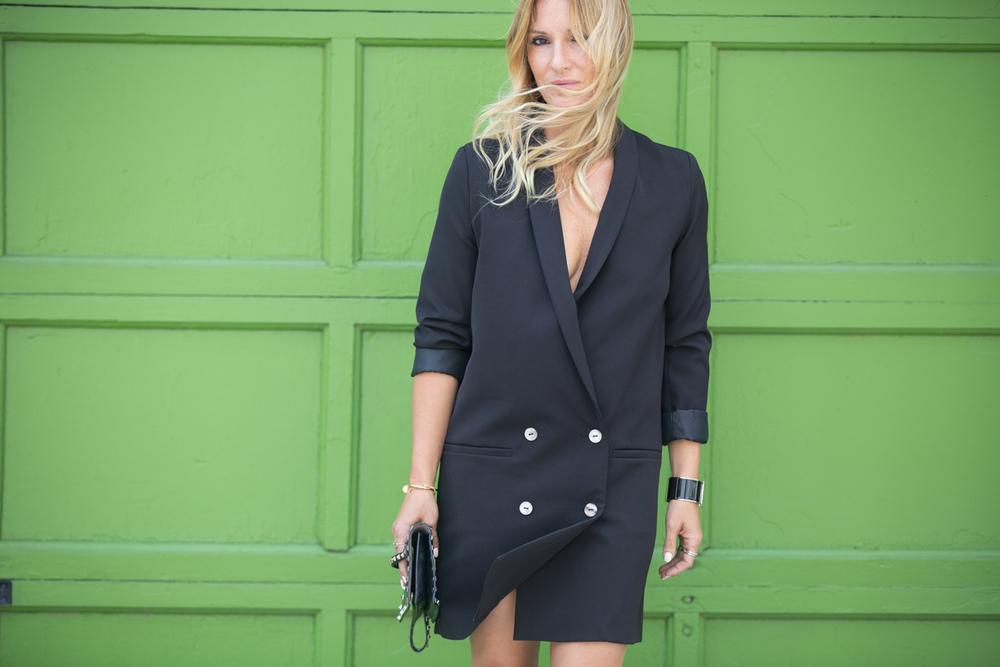 tuxedo dress on mademoiselle jules mlle canadian fashion bloger