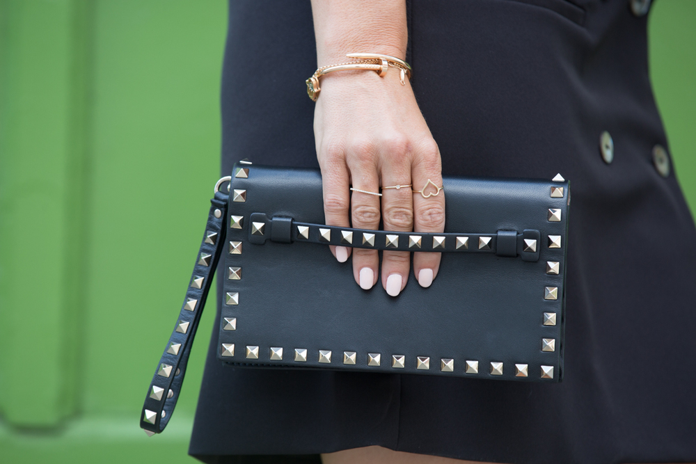 Valentino cltuch studs, clou de cartier, right hand gal rings, bettyray ring, nude nails mademoiselle jules