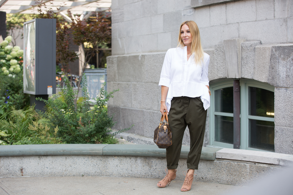 mademoiselle jules Canadian fashion blogger wearing Publish pants and BCBG shirt with Aldo Shoes