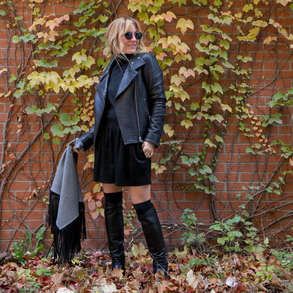 mackage leather jacket and shawl on mademoiselle jules fashion blogger