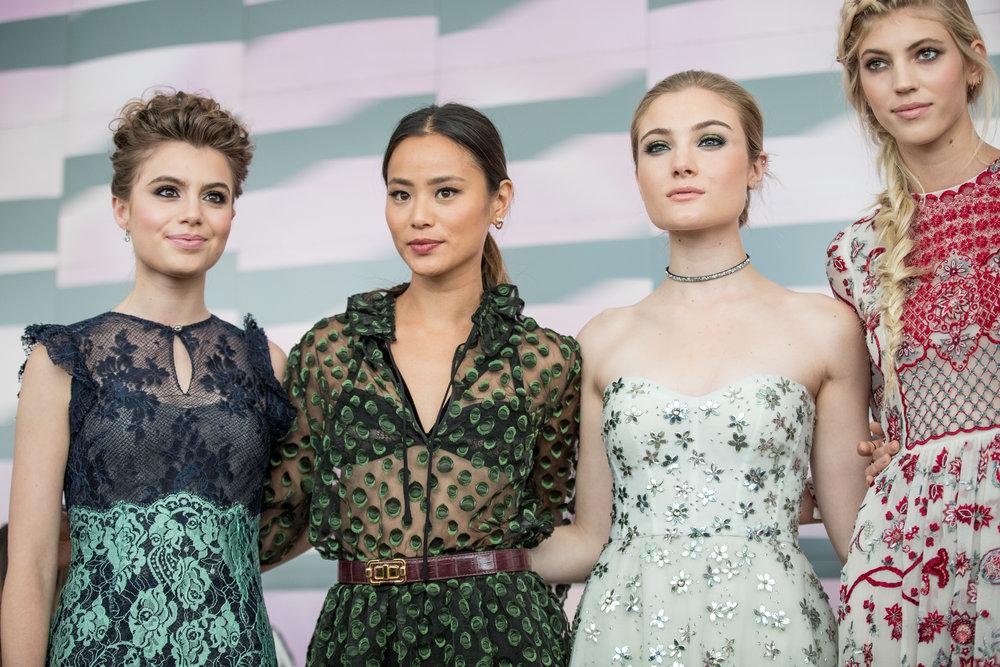 ceebrities at Monique Lhuillier runway show NYFW SS17: Jaime Chung, Devon Windsor, Rachel Hilbert, Cara A Santana