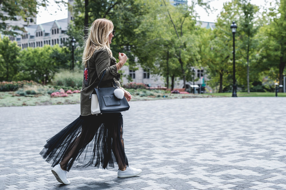cargo jacket tule skirt fashion blogger mademoiselle jules mlle fur pompom sneaker iro paris streetstyle fall trends look style