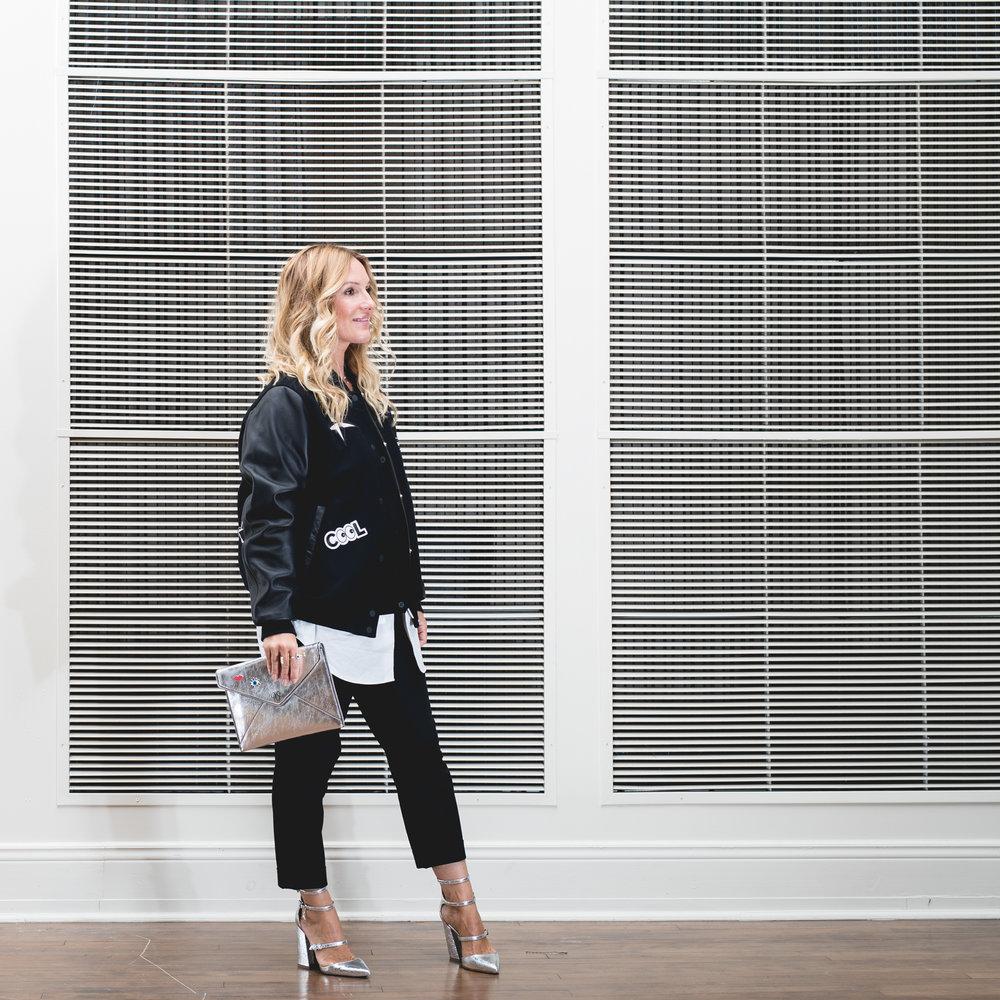 mademoielle jules wearing rebecca minkoff leo clutch in silver fashion blog