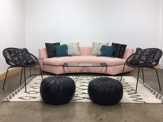 Blush Lounge 1: $785 This lounge offers a modern vignette with pops of pink and teal anchored with black and white. The perfect balance of soft and bold, bringing a bit of femininity with an edge!