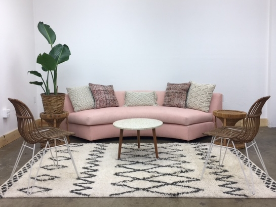 Blush Lounge 2: $705   This vignette offers a soft balance of modern and bohemian. The blush couch is the focal point but is balanced by white and natural elements!