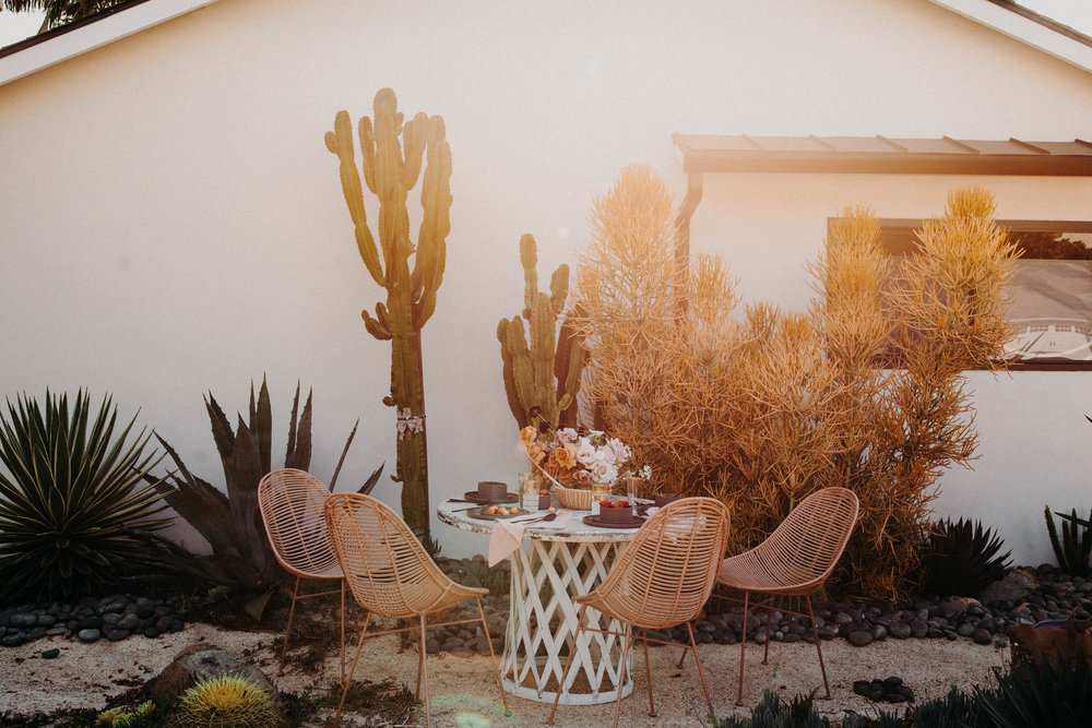 SHOP THE LOOK: Haylee Mono Rattan Chair / Modern Dinnerware Set