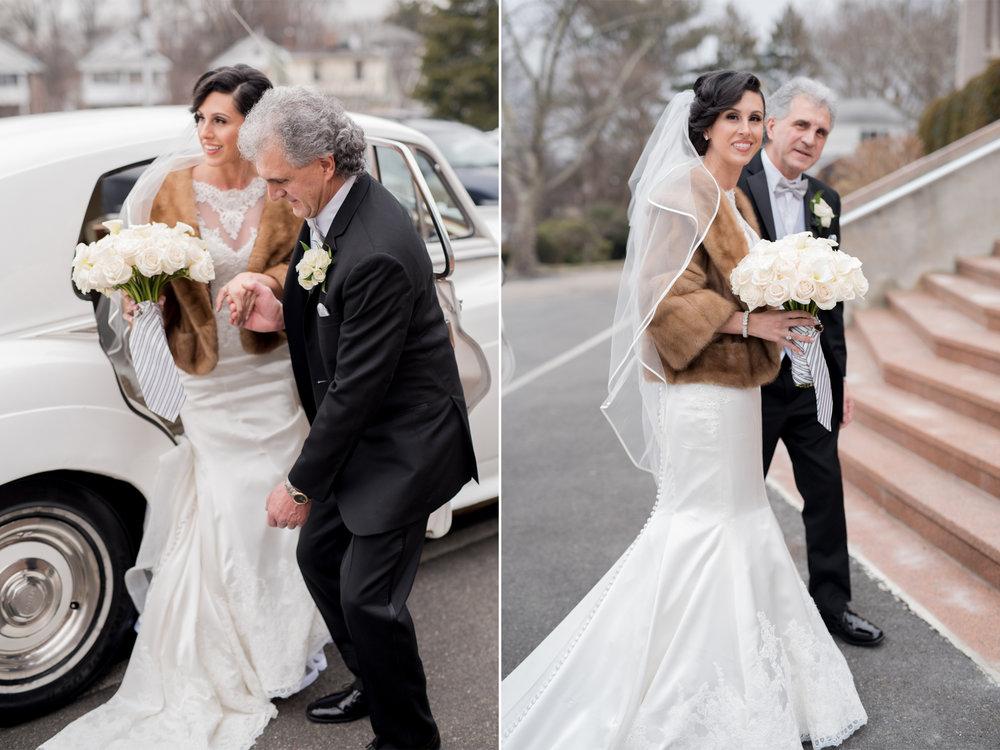 Michelle+Joe- Bride and Father Walking into Church- Ryland Inn Winter Wedding - New Jersey - Olivia Christina Photo.jpg