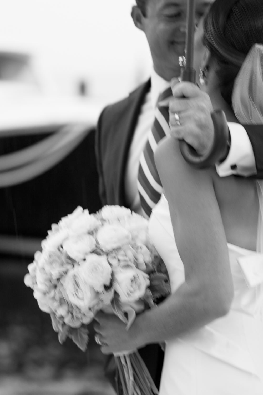 Rainy Wedding Day- Bride and Groom Portraits with Umbrella- New Jersey Weddings- Olivia Christina Photography