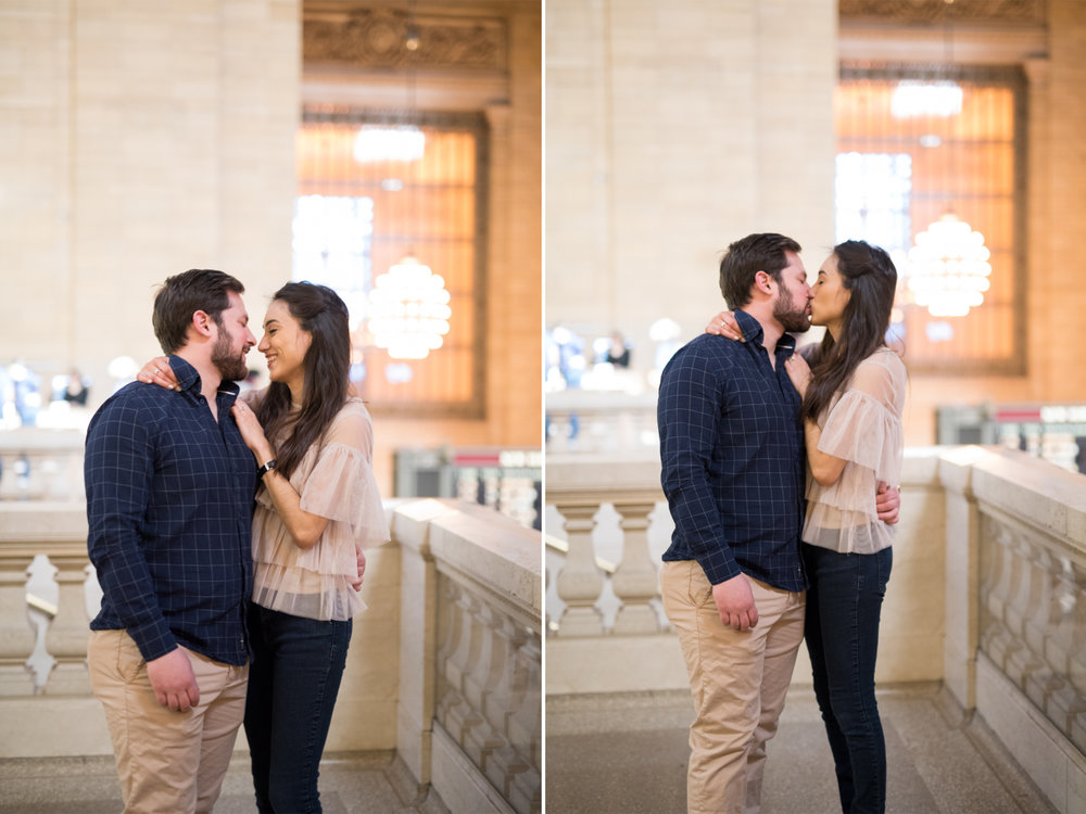 Anahi+David-NYC Grand Central Engagement Session-Balcony Kisses - Olivia Christina Photo.jpg