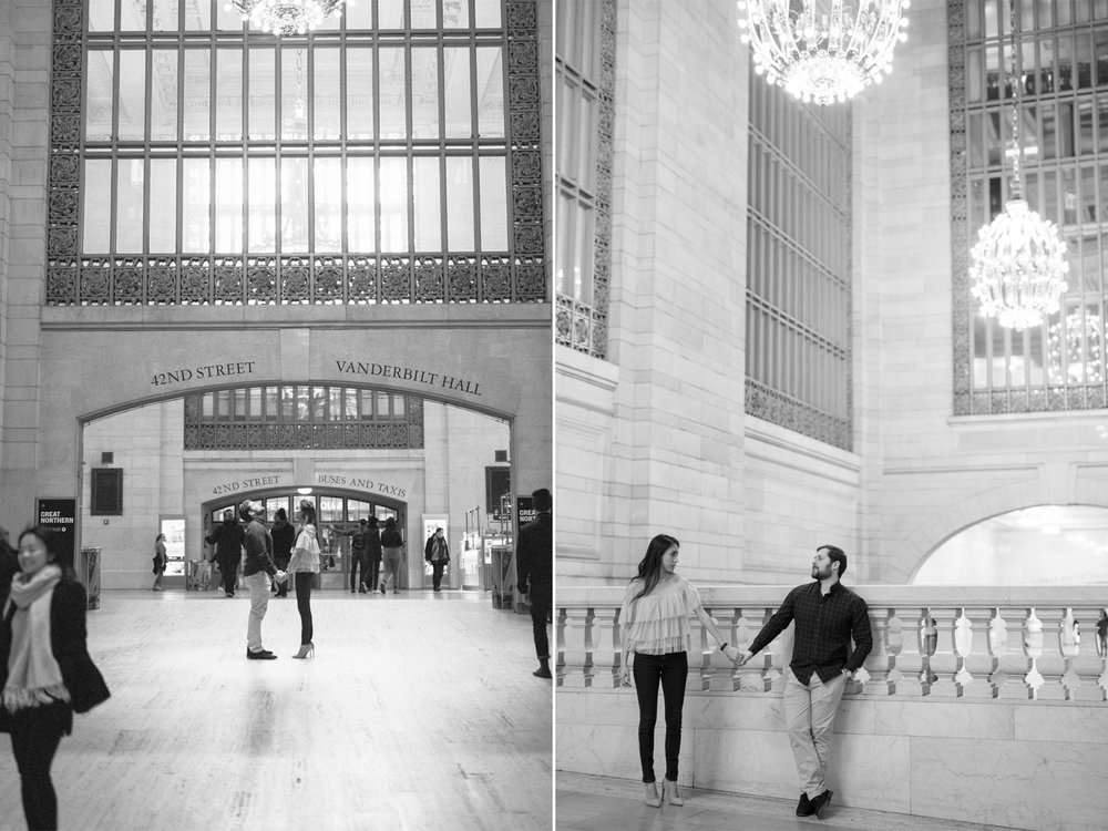 Anahi+David-NYC Grand Central Engagement Session- 42nd St and Vanderbilt Black and White- Olivia Christina Photo.jpg