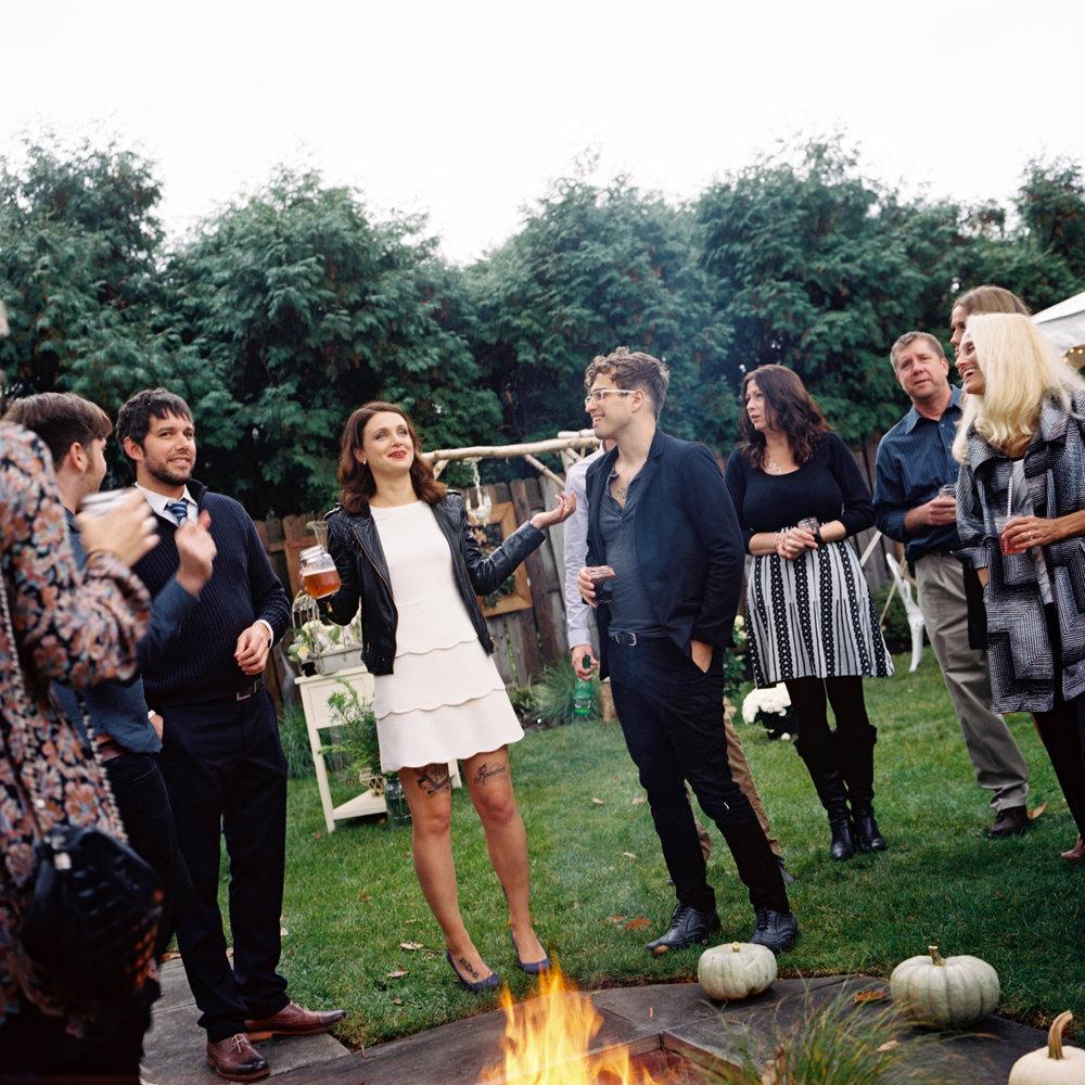 Backyard Rustic Wedding- Bridal Leather Jacket Tattooed Bride- New Jersey- Olivia Christina Photography