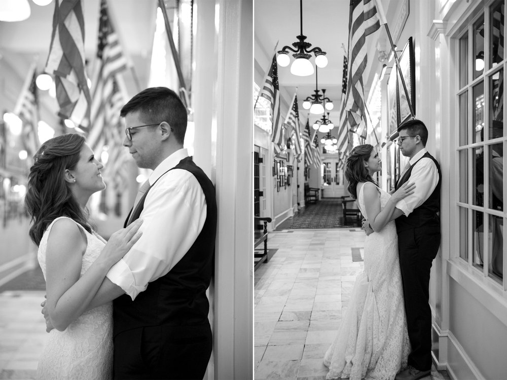 Carolyn+Dominic- Bride and Groom Portraits Flag Hallway- Congress Hall Wedding- Cape May New Jersey- Olivia Christina Photo-44.jpg