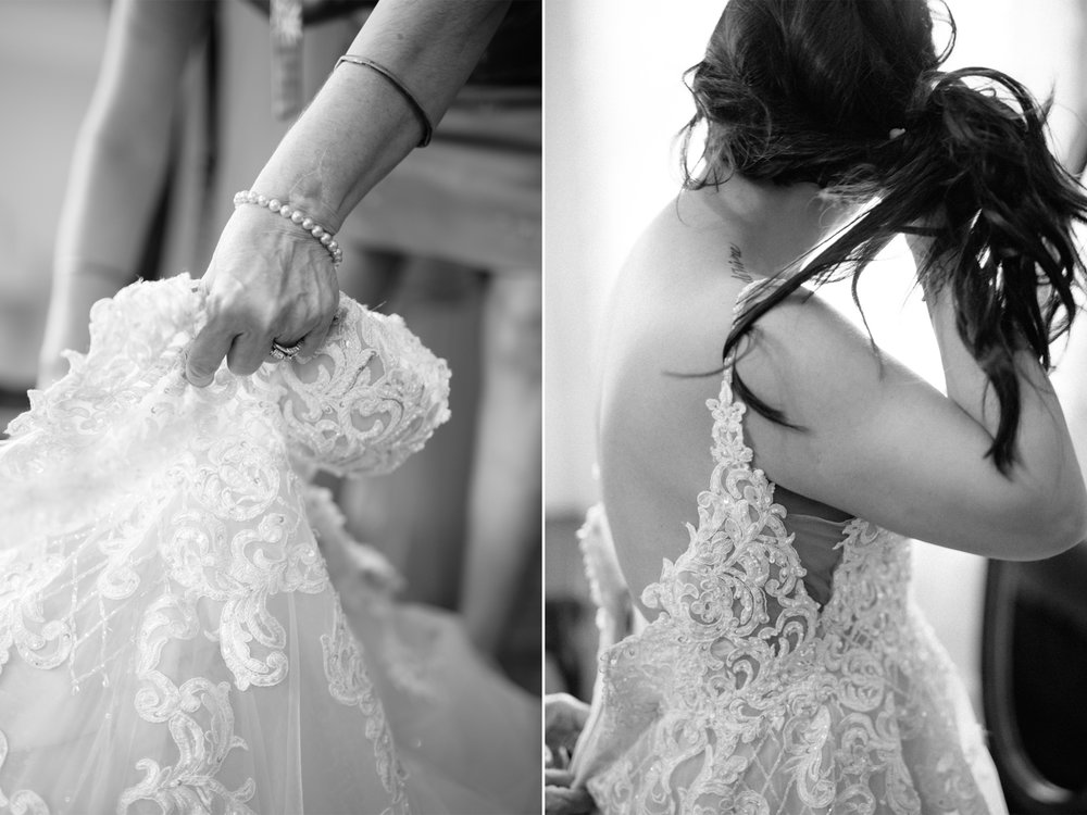 Mariangel + Kieran- Oakeside Mansion Wedding-Bride Putting on Wedding Dress- Essense of Australia- I Do I Do Bridal- Bloomfield NJ- Olivia Christina Photo.jpg
