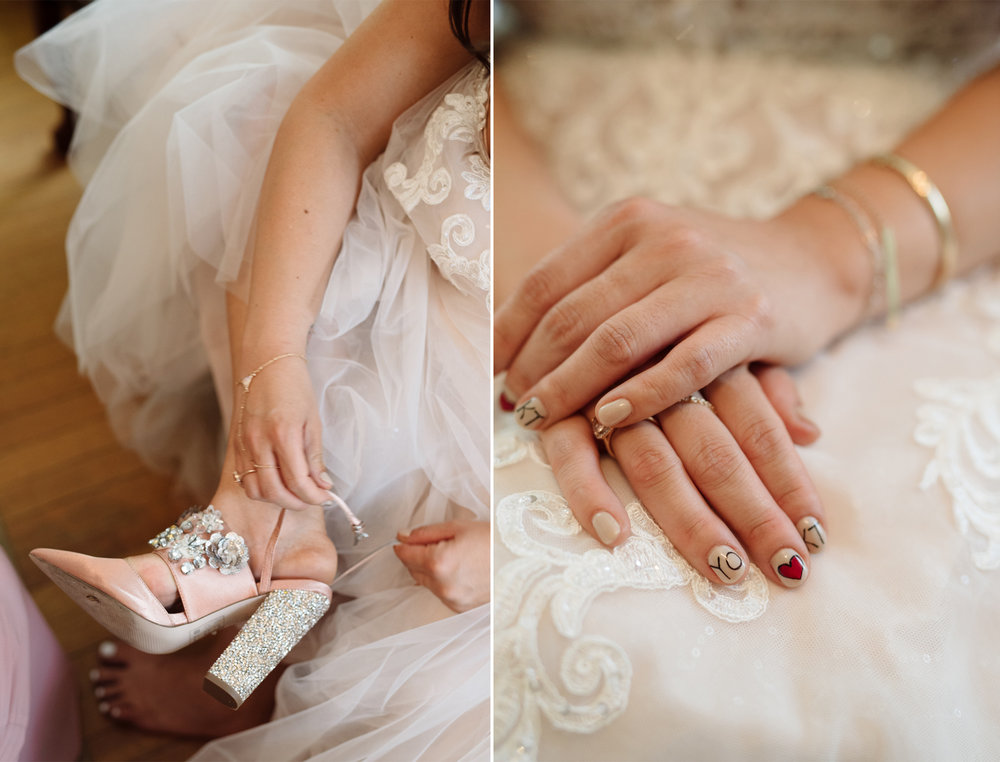 Mariangel + Kieran- Oakeside Mansion Wedding-Sequin and Blush Heels ASOS Wedding-Custom Nail Design- Bloomfield NJ- Olivia Christina Photo.jpg