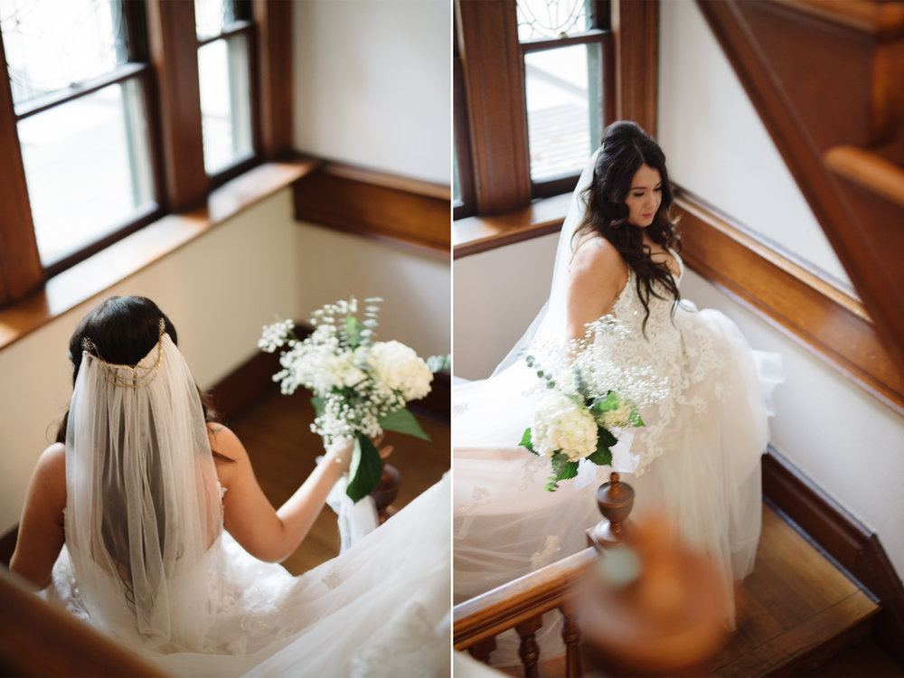 Mariangel + Kieran- Oakeside Mansion Wedding- Bride On Staircase- Bloomfield NJ- Olivia Christina Photo.jpg