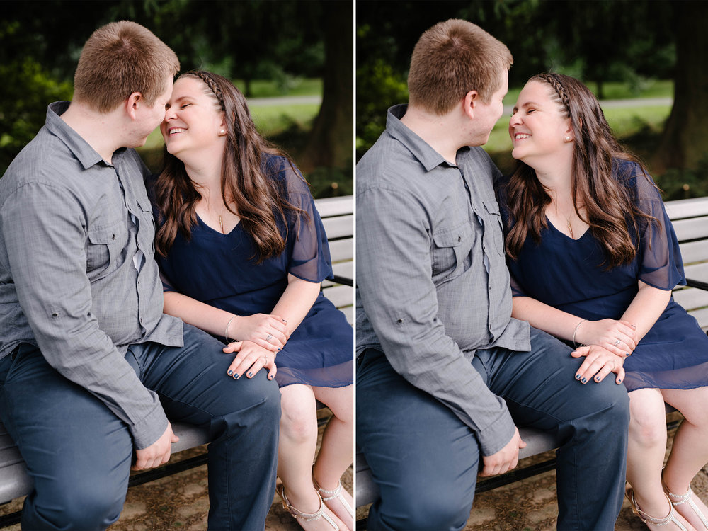 Brookdale Rose Garden- Engagement Photos- Garden Bench Ring Shot- Bloomfield New Jersey- Olivia Christina Photo.jpg