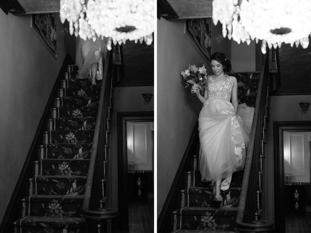 Feast at Round Hill Wedding-Kenny + Melissa-Bride Descending Staircase-Hudson Valley New York - Olivia Christina Photo-1.jpg