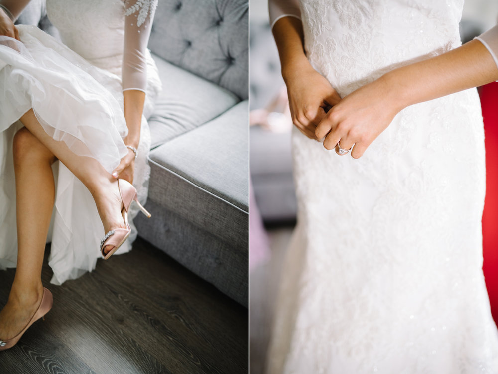 Badgley Mischka Pink Wedding Shoes-Oleg Cassini Wedding Dress- Bride Getting Ready- Mari and Dalton- Olivia Christina Photo.jpg