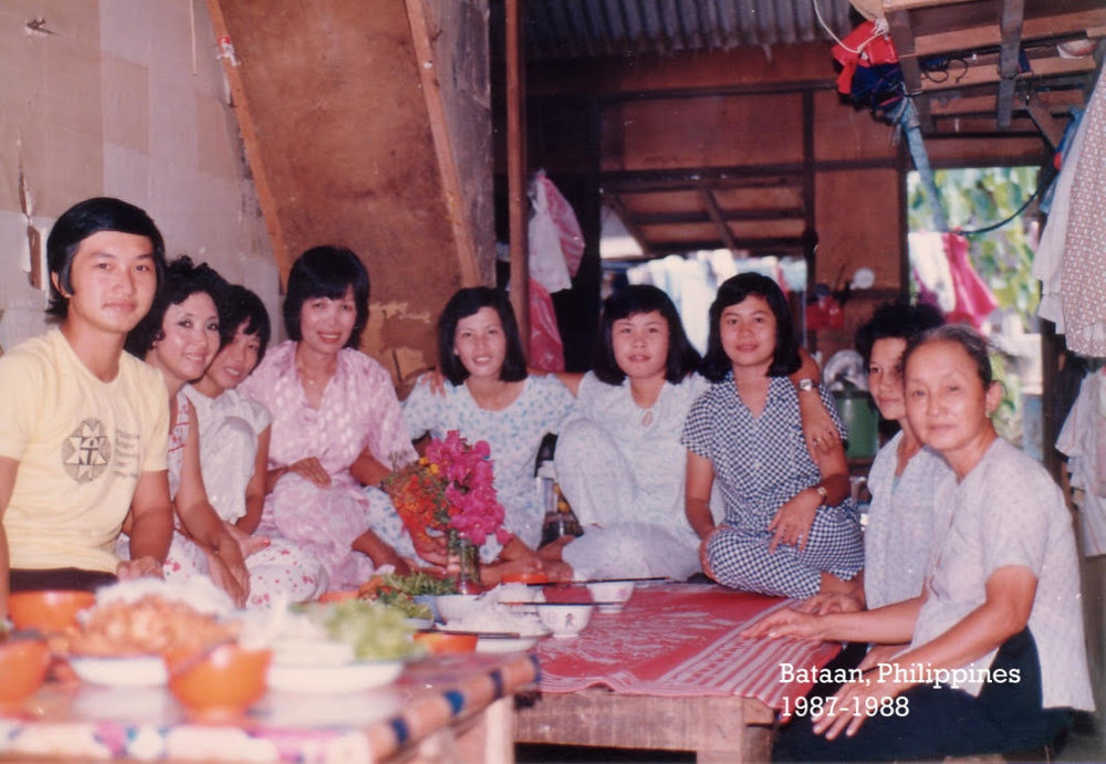 My Anh Hai (far left), Mẹ (next to him) and Bà Ngoại (far right) at the refugee camp in Bataan.