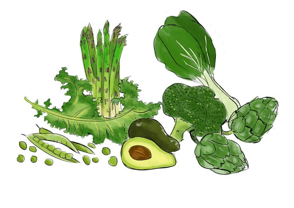 Greens - vitamin C, antioxidants, minerals