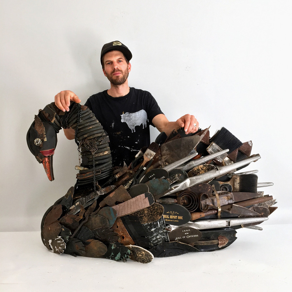 "Dolan Geiman with ""Black Swan Mixed Media Sculpture"""