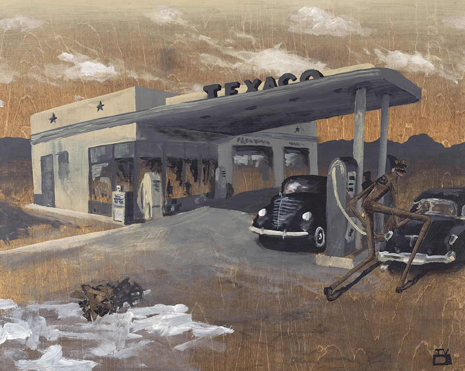 The Gas Jockey  |  16x20 inches  |  acrylic, watercolor paper, kraft paper on stained birch panel In the early days of the automobile, full-service gas stations were commonplace and gas jockeys were the jovial workers that served as their lifeblood.  From pumping the gas, checking the oil, and cleaning the windows, gas station attendants would take care of all of the motorists' needs with a skip in their step.  A series of oil embargos in the 1970's made prices soar and pinched the majority of full-service stations out of business, even though they remain legally required in New Jersey and Oregon.