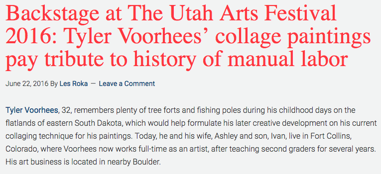 A write up about my art for The Utah Arts Festival. Click to read the whole article. // June 2016