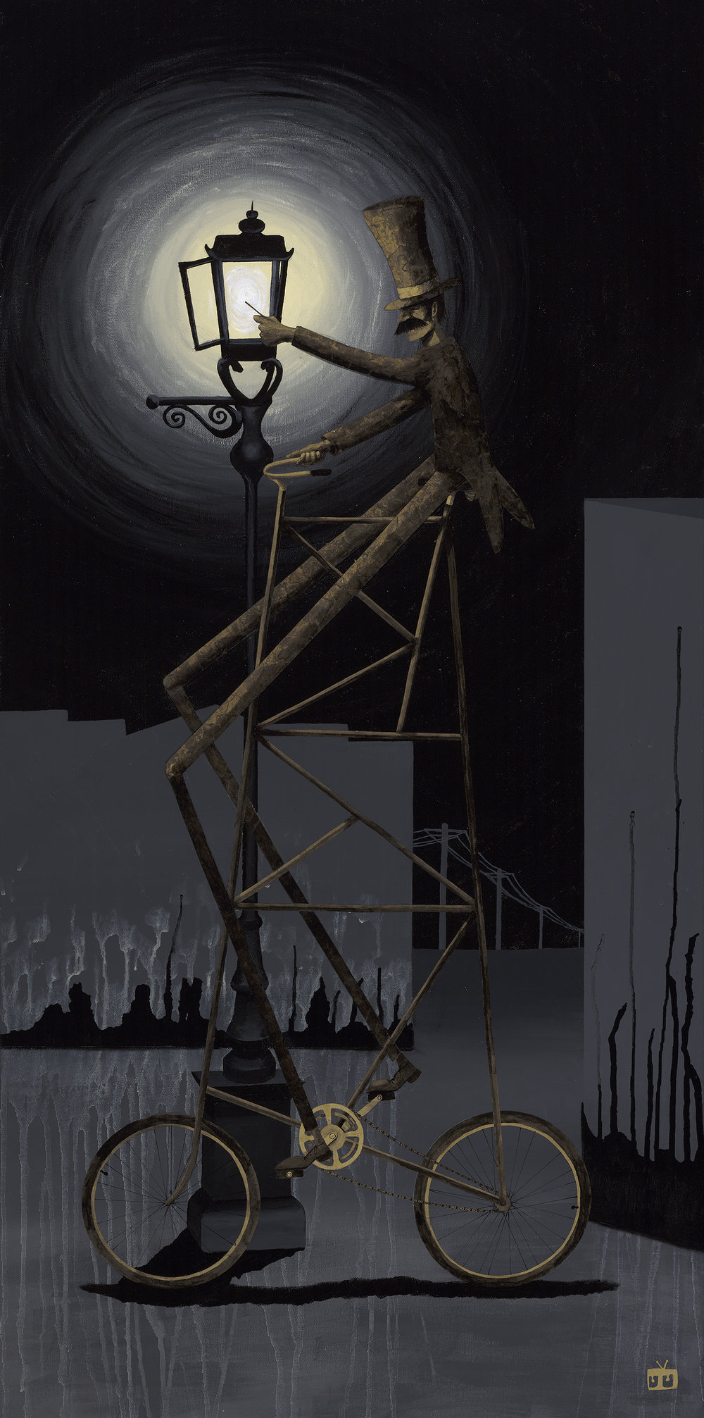 The Lamplighter  |  Acrylic, Watercolor Paper & Kraft Paper on Canvas  |  24 x 48 in.  |  2011