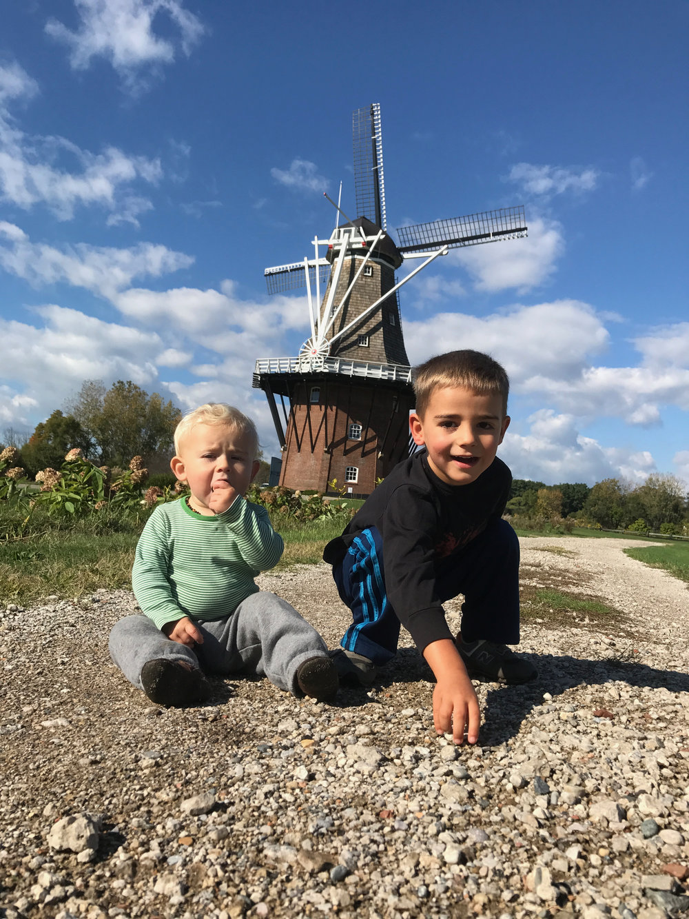 The boys exploring Windmill Island - October 2017 - Holland, Michigan
