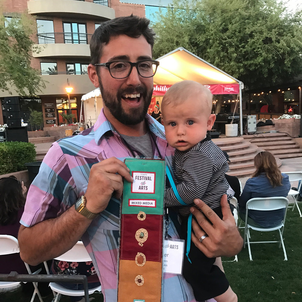 Orin helps me accept an award  |  April  |  Tempe, AZ