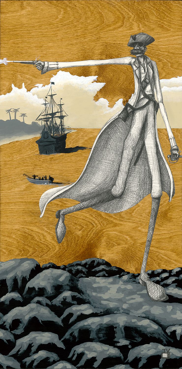 The Pirate | 18x36 | acrylic, graphite, watercolor paper on stained birch panel