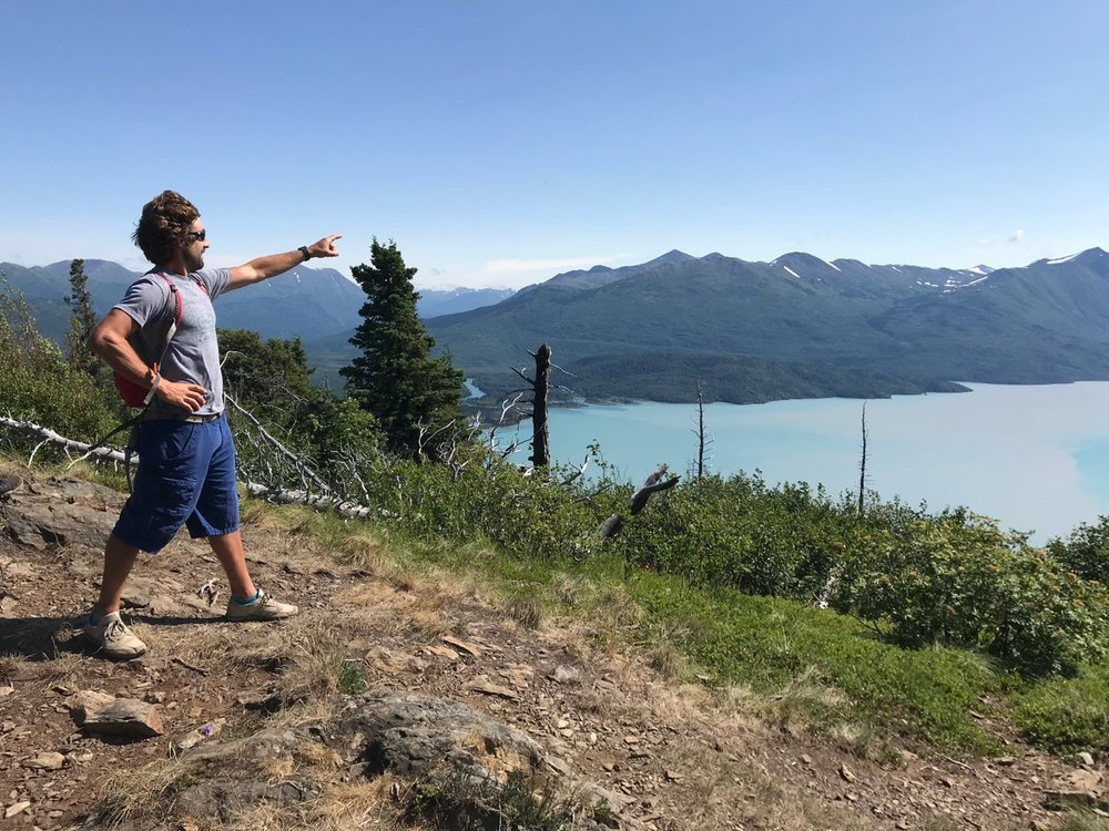 My brother Lucas conquers a peak overlooking Skilak Lake.