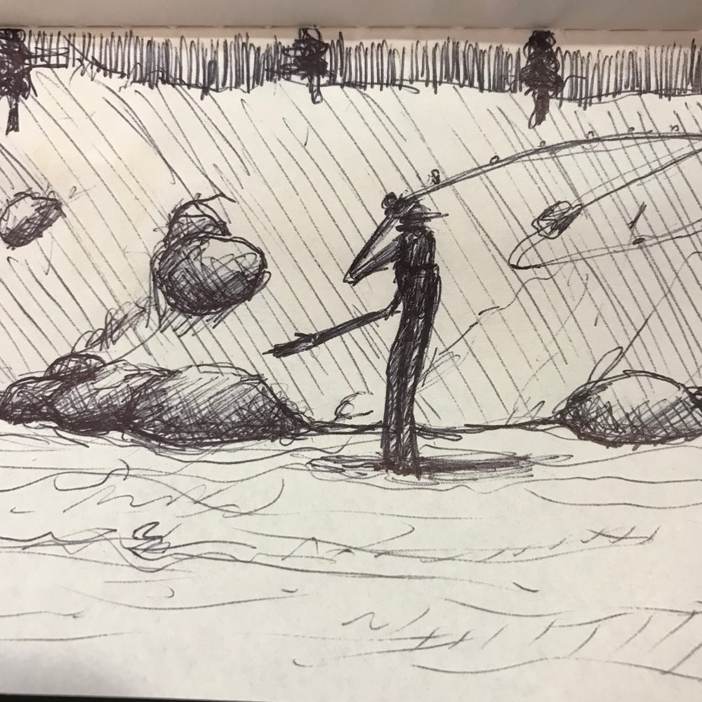 A quick jot capturing a memory of fly-fishing for salmon on the Kenai River.