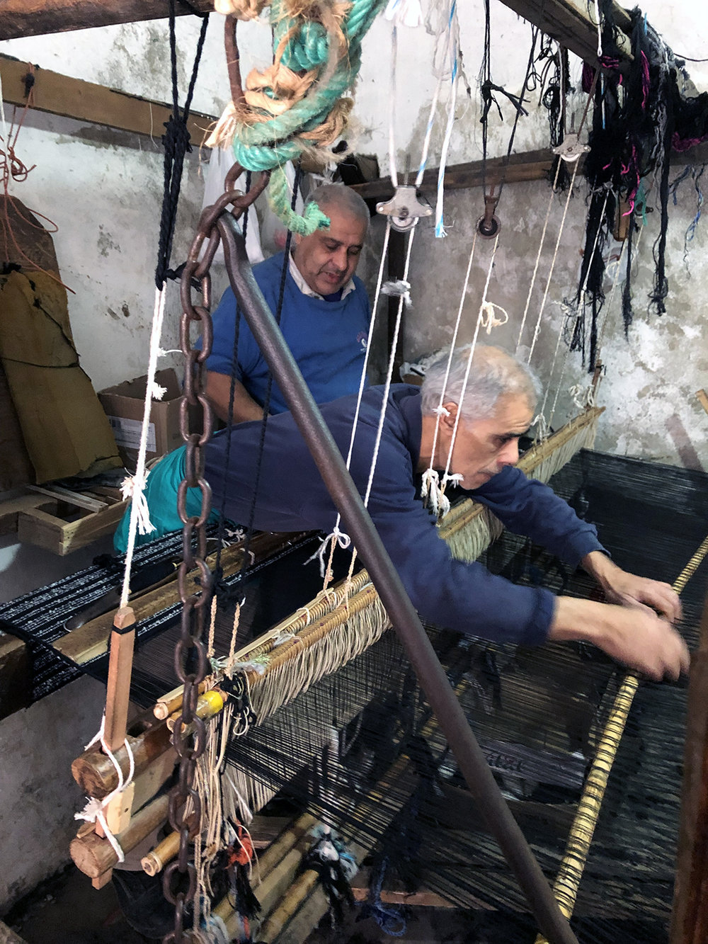 Weavers at work.