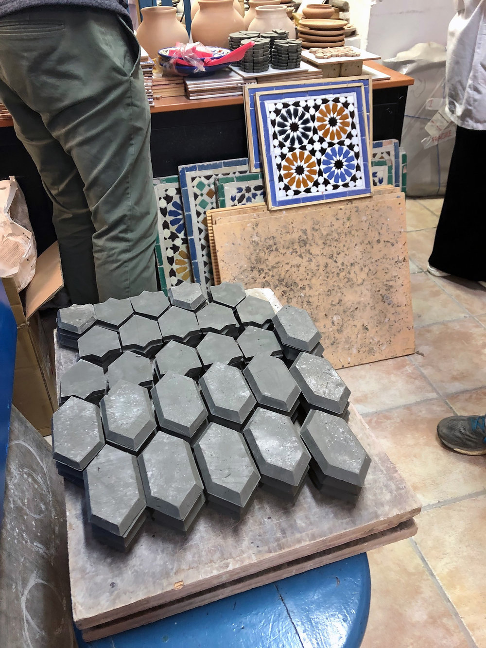 Perfectly cut tiles ready for the kiln