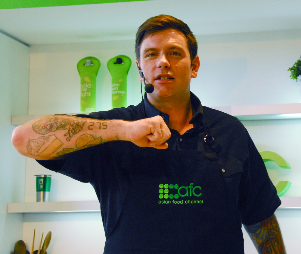 Chuck Hughes showing some ink.