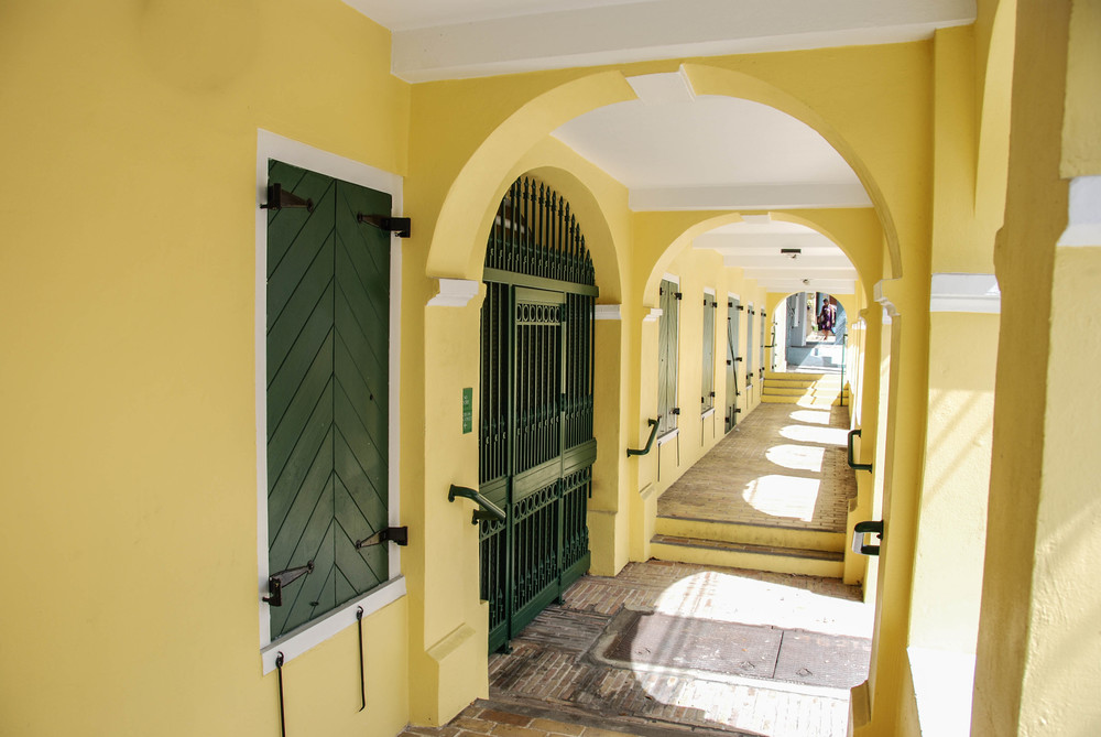 A typical colonial 5-foot way in  christiansted, St. Croix.