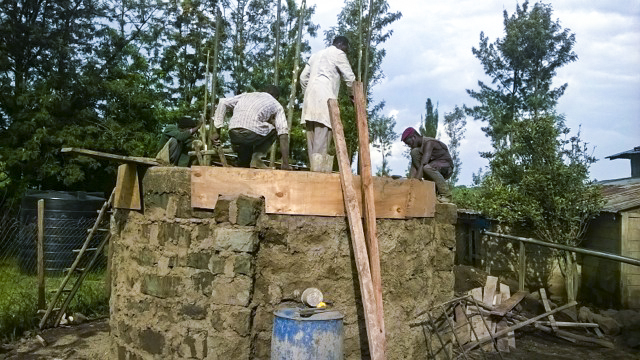 Building the base for the solar hot water tank