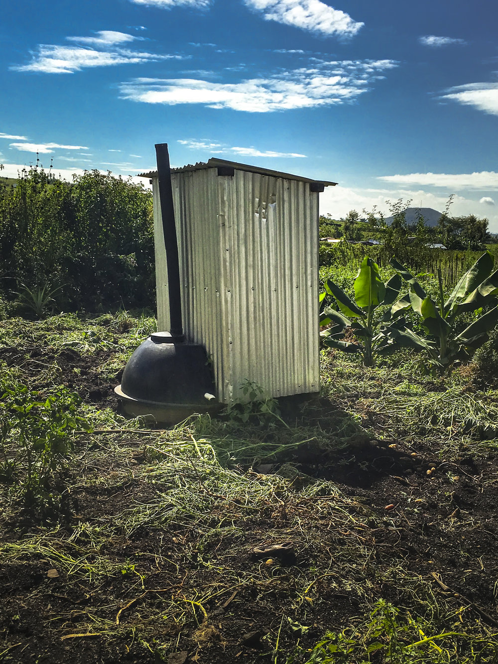 A composting toilet in the compound