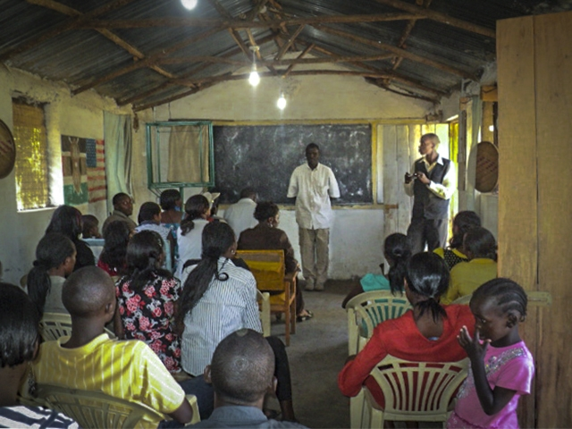A class in the social hall – the Centre's first classroom