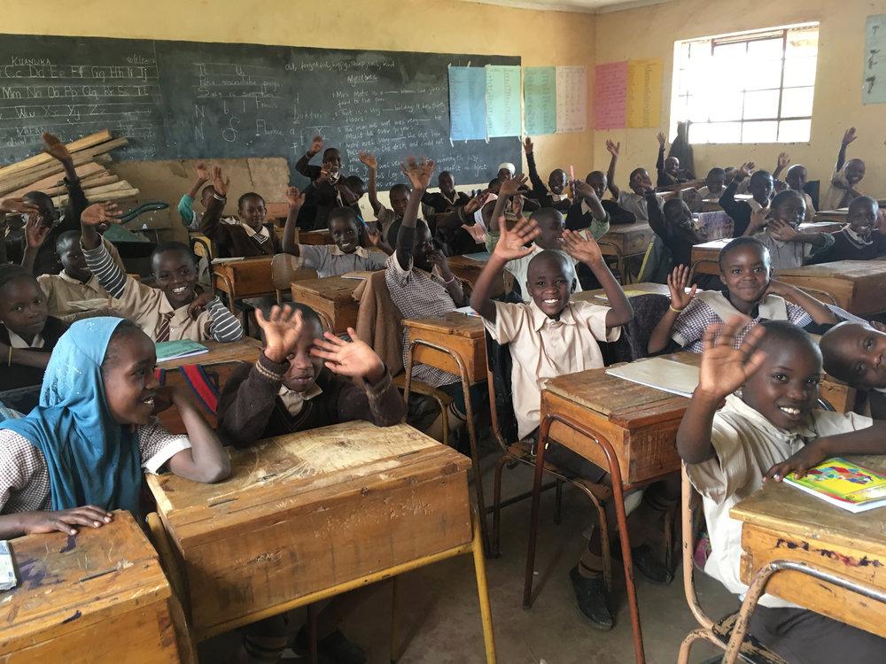Enthusiastic students in Ndabibi Primary School