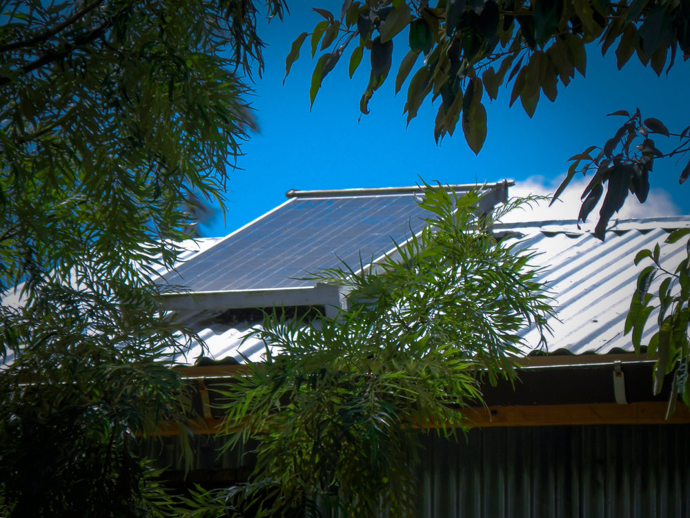 One of the first two solar panels installed in 2007 – the Centre now has 14 panels